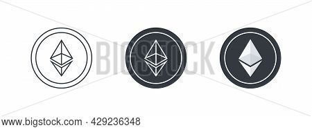 Ethereum Icons Concept. Cryptocurrency Logo Variations. Digital Cryptographic Currency Ethereum. Vec