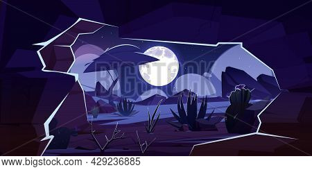 View From Cave In Rock To Desert Landscape At Night. Vector Cartoon Illustration Of Sand Desert With
