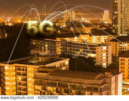 5g Text And Sinal Internet Symbols With Buiding In Night Blur. Communication Data Information Connec