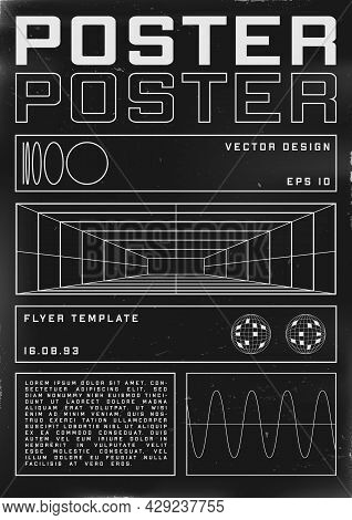 Retrofuturistic Poster Design With Perspective Grid Tunnel. Cyberpunk 80s Style Poster With Retrofut