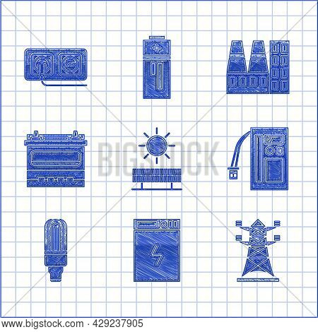 Set Solar Energy Panel And Sun, Power Bank, High Voltage Power Pole Line, Battery, Led Light Bulb, C