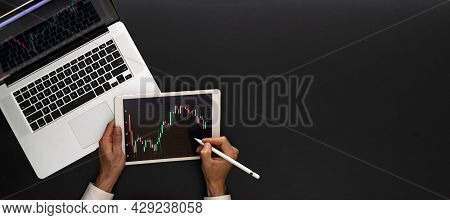 Market Trade. Investment Business Technology App On Digital Screen. Finance Application For Sell, Bu