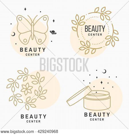Set Of Beauty Center Emblem With Butterfly, Cosmetic Cream, Flowers. Beauty Center Label, Badge, Sig