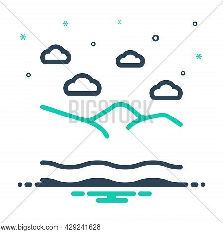 Mix Icon For Vast Rescue Safety Flood  Mountaion Cloud Weather Wave River