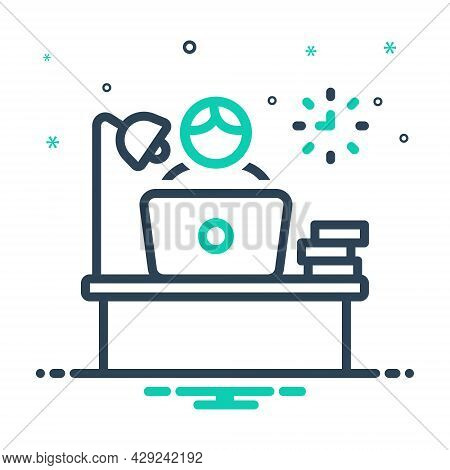 Mix Icon For Occupation Trade Merchandise Commerce Study Business Employment Work Office Desk
