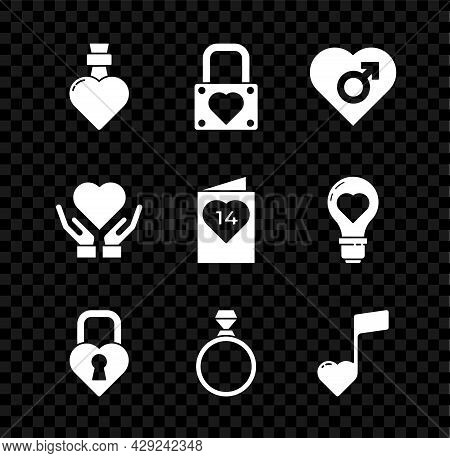 Set Bottle With Love Potion, Lock And Heart, Heart Male Gender, Castle In The Shape Of, Diamond Enga