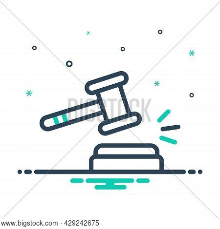 Mix Icon For Sanction Penalty Punishment Penalizing Mulct Auction Legal Act Courthouse Hammer Judgem
