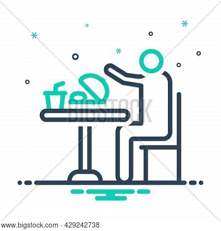 Mix Icon For Eat Consume Swallow Feast-on Imbibe Lunch Junket Meal Food Table Person