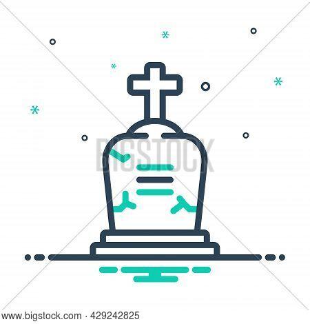 Mix Icon For Death Decease Quietus Mortality Inanimation Grave Gravestone Cemetery