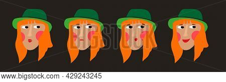 Hand Drawn Illustration Of A Female Face With Red Hair In A Green Hat. Emotions And Feelings: Happin