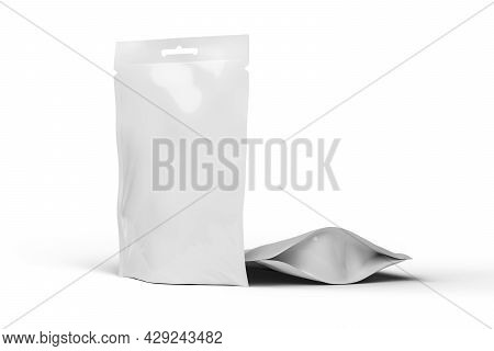 White Blank Food Doy Pack Pouch Bag, Mockup Template. Isolated On White Background, 3d Rendering Ill