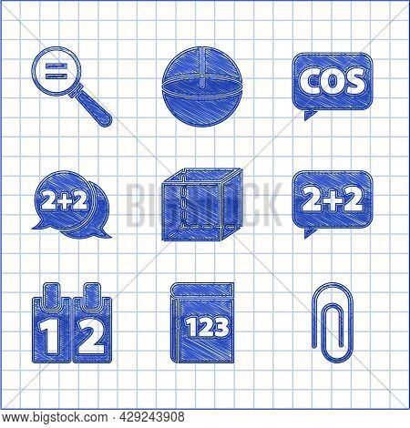Set Geometric Figure Cube, Book With Word Mathematics, Paper Clip, Equation Solution, Calendar, Math