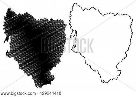 Province Of Huesca (kingdom Of Spain, Autonomous Community Of Aragon) Map Vector Illustration, Scrib