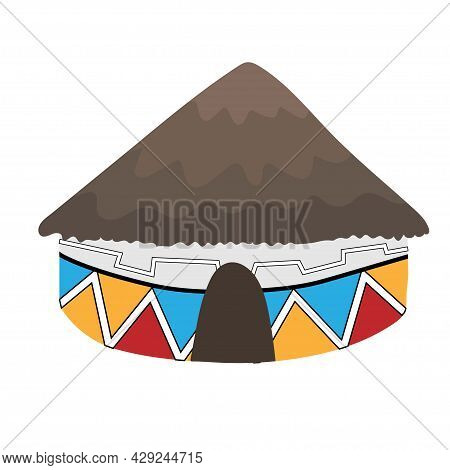Ndebele African House With Grey Thatched Roof Isolated On White Background. Bright Colored Decorated