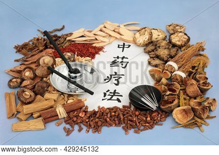 Chinese herbs with moxa sticks and acupuncture needles used in herbal plant medicine with calligraphy script on rice paper. Translation reads as traditional Chinese herbal therapy.