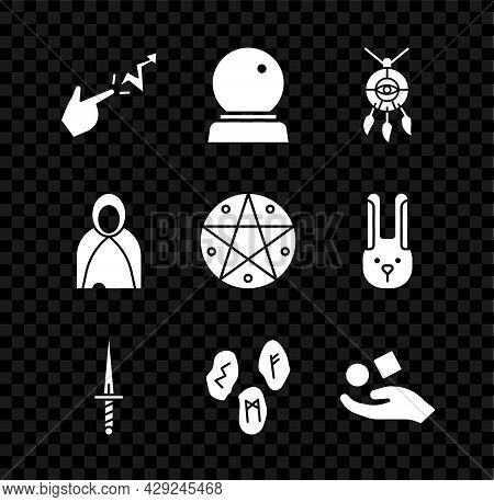 Set Spell, Magic Ball, Dream Catcher With Feathers, Dagger, Runes, Cube Levitating Above Hand, Mantl