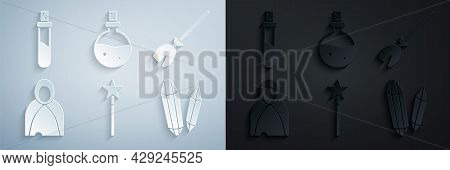 Set Magic Wand, Witches Broom, Mantle, Cloak, Cape, Stone, Bottle With Love Potion And Icon. Vector