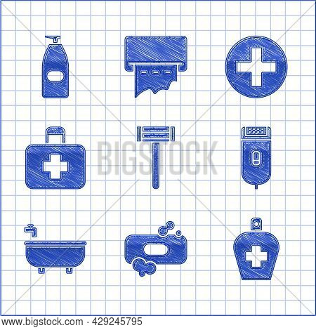 Set Shaving Razor, Bar Of Soap, Bottle Liquid Antibacterial, Electrical Hair Clipper Shaver, Bathtub