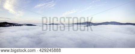 Panorama - Morning Fog In The Mountains. Clouds Of Steam And Fog On The Sky, Hills, The Sky And The