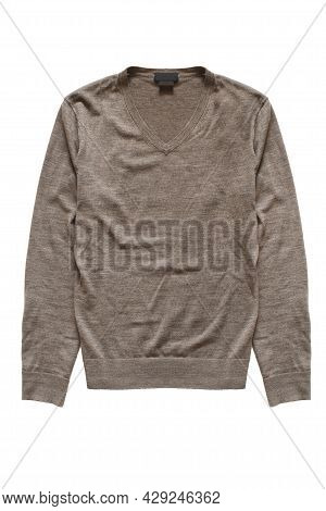 Basic Brown Wool Pullover Isolated Over White