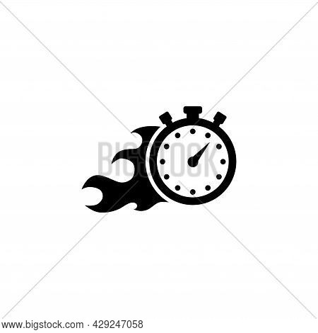 Faster Stopwatch, Fire Time, Express Delivery. Flat Vector Icon Illustration. Simple Black Symbol On