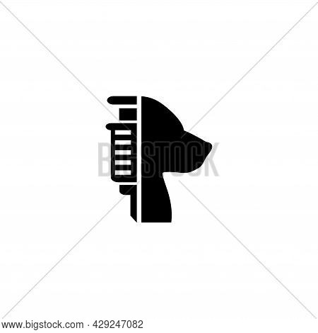 Dog Vaccination, Pet And Injection, Vet. Flat Vector Icon Illustration. Simple Black Symbol On White
