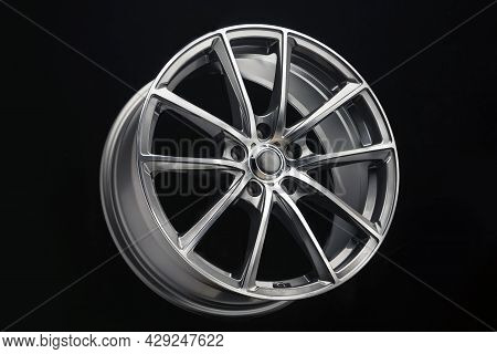 Car Alloy Wheel, Grey With A Polished Front, Thin Light Spokes And Rim, Light Weight, Auto Tuning