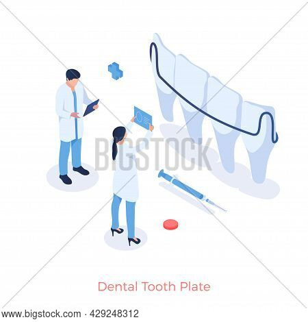 Dental Tooth Plate In Dentistry. Dentists Look At Xrays Of Mouth To Place Jaw Braces. Implantation A