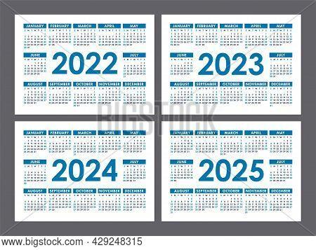 Calendar 2022, 2023, 2024 And 2025 Years. English Vector Set. Horizontal Wall Or Pocket Calender Tem