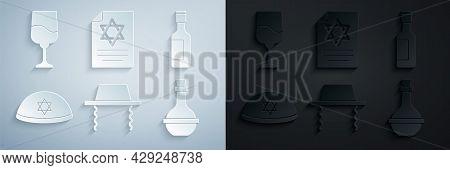 Set Orthodox Jewish Hat, Jewish Wine Bottle, Kippah, Torah Scroll And Goblet Icon. Vector