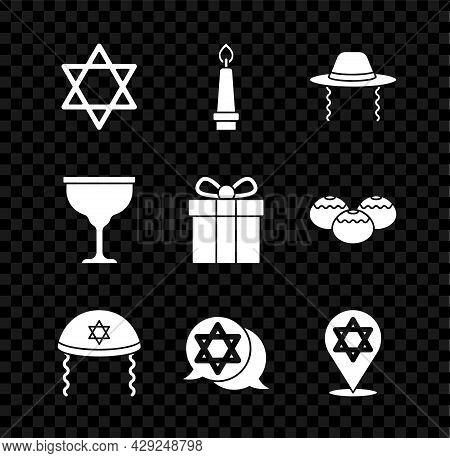 Set Star Of David, Burning Candle, Orthodox Jewish Hat, Jewish Kippah, Goblet And Gift Box Icon. Vec