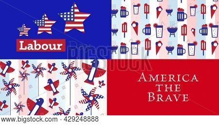 Image of labour day america the brave text over icons coloured with american flag. patriotism and celebration concept digitally generated image.