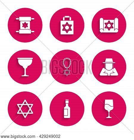 Set Star Of David Necklace On Chain, Jewish Wine Bottle, Goblet, Orthodox Jewish Hat, Torah Scroll A