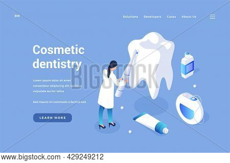 Cosmetic Curative Dentistry. Teeth Whitening And Prevention Of Gums And Enamel. Elimination Of Chips