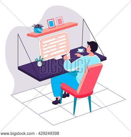 Programming And Software Development Concept. Developer Writes And Testing Program Code At Computer,