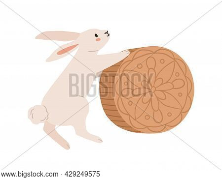 Cute Rabbit With Moon Cake For Mid-autumn Festival In Japan. Bunny With Hold Traditional Festive Moo