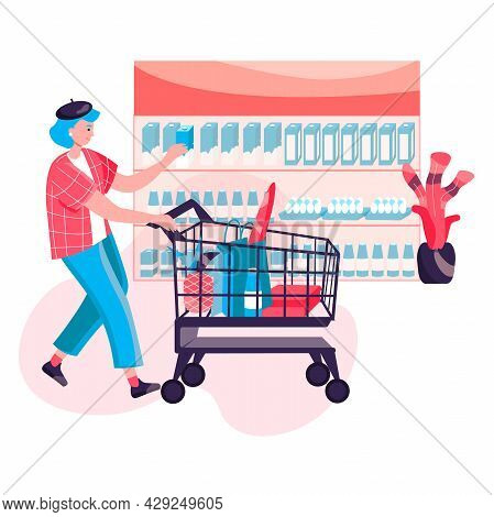 Shopping Woman Concept. Customer Buys Food And Carries Purchases Bags At Cart. Buyer Walking With Tr