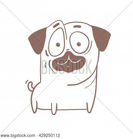 Cute Funny Pug Puppy, Friendly Amusing Dog Caricature Cartoon. Outline Happy Animal Design For Color