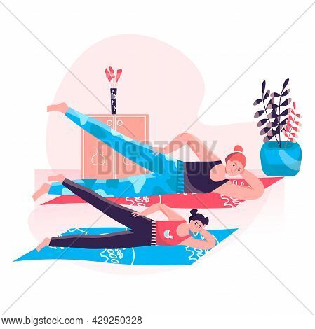 Fitness Workout Concept. Mother And Daughter Doing Exercises At Home. Family Active Sport, Wellness,