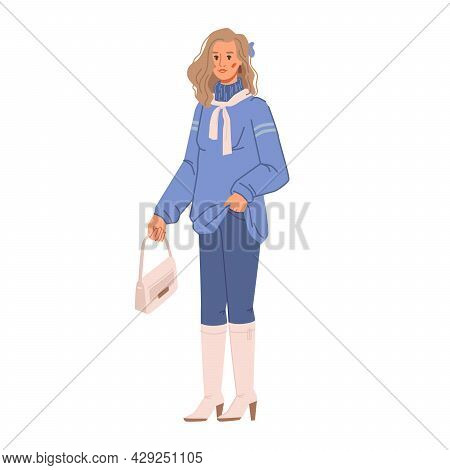 Spring And Autumn Vogue, Woman In Blue Oversize Sweater And Pants, Beige Sack, Scarf And Boots Isola