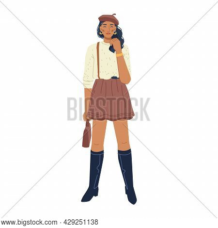 Casual Cloth Collection, Fashion Woman In Shot Skirt And Black High Leather Boots Isolated Stylish B