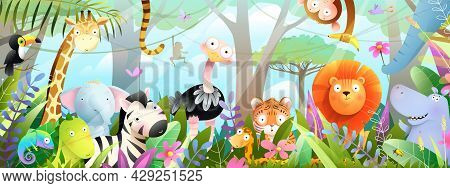 Kids Animals In Jungle Cute Friends In The Wild Tropical Forest. Many Adorable Safari Or Zoo Animals