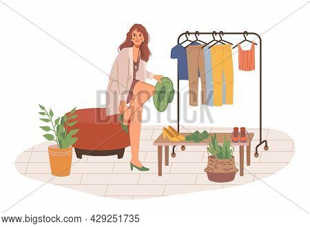 Woman Choosing High Heel Shoes In Shopping Store Isolated Flat Cartoon Character. Vector Pretty Girl