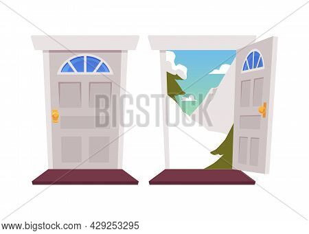 Open And Close House Entrance Door And Doorway With Snow Mountains Landscape.