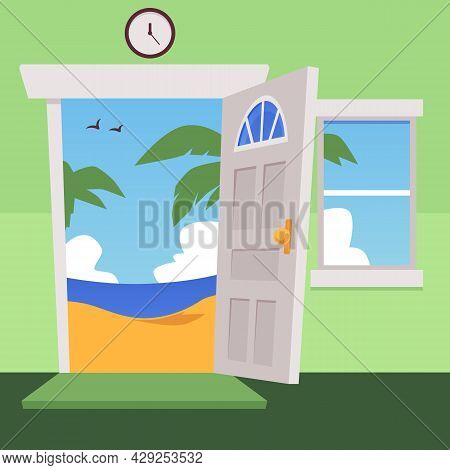 Cartoon Flat Vector Illustration Of Open Door And Window On Green Wall, Palm Tree On The Beach And S