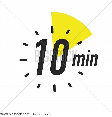 Timer 10 Minutes Symbol Color Style Isolated On White Background. Clock, Stopwatch, Cooking Time Lab