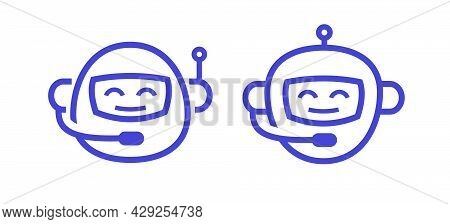 Chat Bot Icon Vector Set Isolated On White Background For Virtual Assistant Icon, Talk Bubble Speech