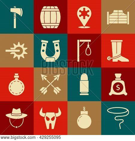 Set Lasso, Money Bag, Cowboy Boot, Hexagram Sheriff, Horseshoe, Spur, Tomahawk Axe And Gallows Icon.