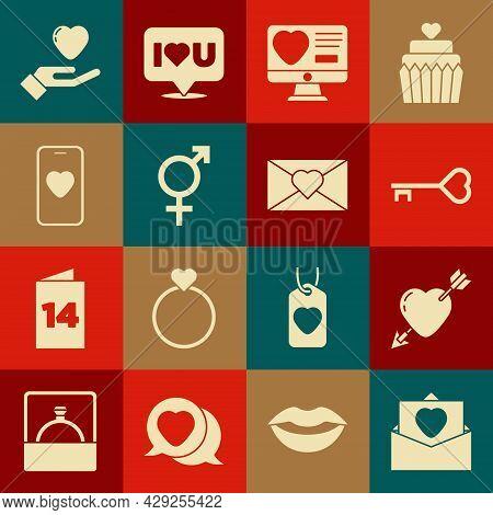 Set Envelope With Valentine Heart, Amour And Arrow, Key Shape, Dating App Online, Gender, Online Dat