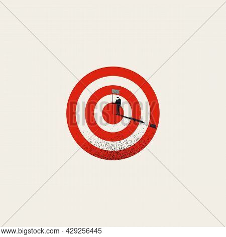 Business Objective Completed, Goal Achievement, Vector Concept. Symbol Of Success, Victory. Minimal